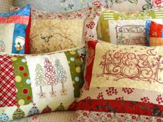 Country Christmas Embroidered Pillows