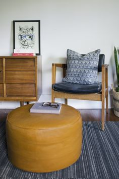 DIY Staining Old Leather Pouf Ottoman