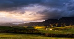 Landscape photo of two old farm buildings in the hills of the Overberg Landscape Photos, Landscape Paintings, Landscapes, West Africa, South Africa, Cardiff University, African Paintings, Namibia, Great Novels