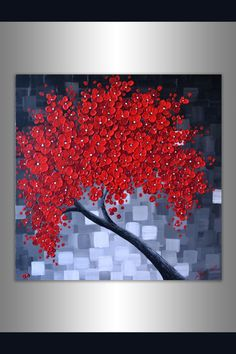 ORIGINAL Modern Art Textured Landscape Abstract Red Cherry Blossom Tree Painting 20x20 Palette Knife Artwork Ready to Hang Unique Wall Decor