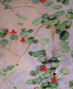 """Nasturtiums by French Impressionist Gustave Caillebotte, who fed all the """"famous"""" Impressionists when they were starving artists."""