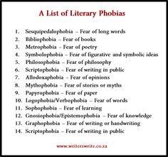 A List of Literary Phobias - Writers Write    Scriptophobia being on here twice is kind of amusing.