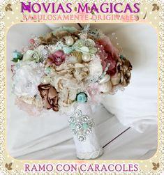 Ramo de Novia o Quinceañera, Hecho a mano, en Mexicali,B.C. By Mony Queen. En la tienda Novias Magicas y Quinceañeras #ramo #bouquet #novia #bride #quinceañera #xv #hechoamano #handmade #mexicali #mexico #vintage #rustic #magic #original #lace #encaje #fabric #floral #magic #fairytale #wedding #boda #bridal #nupcial #glam #flowers #flores #artisan #artesanal #queen #fairy #princess #reina #princesa #hada #caracoles #snails #sea #playa #beach