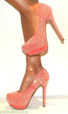 CHIQ | Coral Rhinestone Platform shoe,  Go To www.likegossip.com to get more Gossip News!