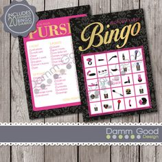 Bedroom Kandi Printable Party Games by DammGoodDesign Bingo and what's in your purse