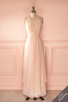 Tianyi - Light pink veil halter sleeveless dress
