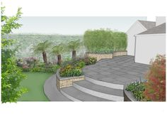 Visual of Raised patio area from a new project in Terenure, Dublin. www.owenchubblandscapers.com we design - we build - we care Raised Patio, Dublin, 3 D, Garden Design, Gardens, Building, Outdoor Decor, Projects, Log Projects