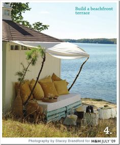 A DIY Rustic Outdoor Retreat — Canadian House and Home Outdoor Retreat, Outdoor Rooms, Outdoor Living, Outdoor Cabana, Backyard Retreat, Pallet Exterior, Rustic Outdoor, Outdoor Decor, Outdoor Pallet