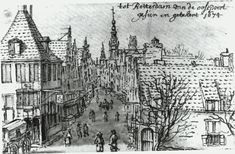 De Hoogstraat in 1674 gezien vanaf de Oostpoort.  Het gebouw met de toren is het Gasthuis.  De Hoogstraat is een van de oudst bekende straatnamen in Rotterdam.
