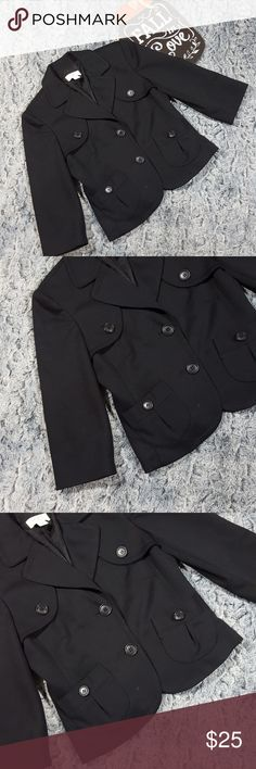 """LOFT Black Cropped Career Blazer Ann Taylor LOFT Black Cropped Blazer Button Front 3/4 Sleeve Career Size 2P Fully Lined  Gently used with no flaws, see photos   Measurements: 17"""" armpit to armpit  15"""" waist while laying flat  19"""" in length  GE73 LOFT Jackets & Coats Blazers"""