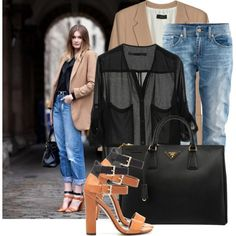 All time classic by justsweet on Polyvore featuring Joseph, H&M, Zara, Prada, jean jackets, top handle bags, boyfriend blazers and multi-strap sandals