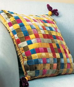 Ribbon weave pillow