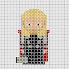Cross stitch Marvel Avengers Thor with Mjolnir. Cross Stitch For Kids, Cross Stitch Boards, Cross Stitch Bookmarks, Mini Cross Stitch, Embroidery Art, Cross Stitch Embroidery, Cross Stitch Patterns, Marvel Cross Stitch, Alpha Patterns