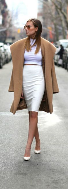 Chic - White Kim Kardashian pencil skirt, crop top and camel coat Women's sophisticated fall fashion clothing street style outfit