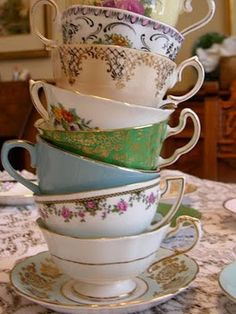 I love mixed design teacups and saucers. Old and new, patterns, etc...