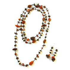 Wooden Beads Necklace Stone Necklace Rustic by Franca&Nen #francaandnen