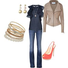 navy top, jeans, gold jewelry and coral shoes