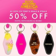 Shout to locally owned @moonandlola on their @goodmorningamerica Spotlight. 50% off these hotel keychains for a limited time.  Great gift idea for you or a friend! Christmas is coming soon!