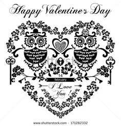 Happy Valentine's Day Greeting Card with Owls. Raster Version.