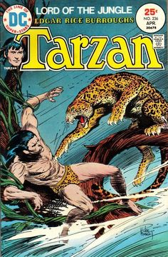 Tarzan #236, April 1975, cover by Joe Kubert  Coming up, I'll be posting some great cover work by the late Joe Kubert. Kubert's legacy is huge, not just in the art he left us, but also in the work of his sons, Adam and Andy, and the many artists trained at the Kubert school.