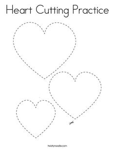 Heart Cutting Practice Coloring Page - Twisty Noodle Valentine's Day Crafts For Kids, Valentine Crafts For Kids, Valentines Day Activities, Heart Shapes Template, Printable Shapes, Cutting Activities, Cutting Practice, Valentines Day Coloring Page, Preschool Colors