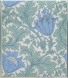 Wallpaper, 'Anemone' | Designed by William Morris (1834-1896) for Morris & Co. | England, Great Britain, late 19th century | Colour block print on paper | Many of Morris & Co.'s later wallpapers were designed by J. H. Dearle, and by other designers employed by the company, working in the style of the socialist painter, designer and poet William Morris | VA Museum, London