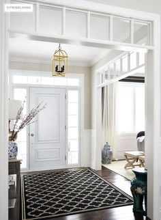 An entryway rug is among simple decorations that can enliven your house. A stylish rug can impress guests, relatives or friends. An entryway rug shouldn't cost you a fortune. Read Entryway Rug Ideas to Spruce Up Your Foyer Black Interior Doors, House, Home, House Entrance, New Homes, Doors Interior, Hallway Lighting, House Interior, Interior Design