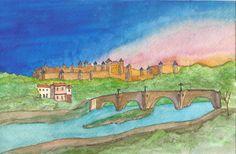 Carcassonne La Cite at Sunset by jonalmondartworks on Etsy, $6.00