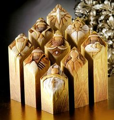 This Modern Pillars Nativity Set tells the story with inscriptions of key Bible verses on the backs of each pillar.