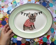 cute french bulldog plate