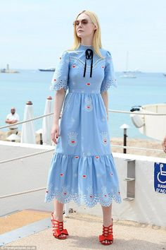 Elle Fanning stuns in quirky frock at Cannes Film Festival #dailymail