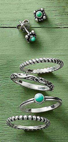 Add a touch of the Southwest to any look with turquoise and textured, sterling silver details. #jamesavery