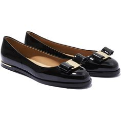 Salvatore Ferragamo Varina With Gold Trim ($625) ❤ liked on Polyvore featuring shoes, flats, black, black patent flats, black flats, embellished flats, ballet flats and patent leather flats