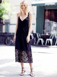 look black slip dress