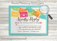 Fiesta Papel Picado Flags RSVP Card and Envelope by DelightInvite