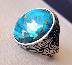 New Women's Vintage Jewelry 925 Silver Turquoise Gemstone Engagement &Party Ring in Jewelry & Watches, Fashion Jewelry, Rings Turquoise Wedding Jewelry, Turquoise Rings, Turquoise Gemstone, Vintage Turquoise, Sterling Silver Jewelry, 925 Silver, Silver Rings, Silver Necklaces, Engagement Ring Sizes