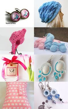 Pink and Blue by Lisa Hutchens on Etsy--Pinned with TreasuryPin.com