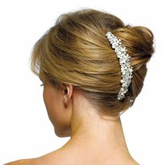 Ivory Pearls & Crystal Fowers Hair Comb
