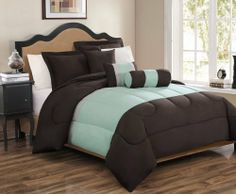 """10 Piece Queen Tranquil Sage and Chocolate Bed in a Bag Set by KingLinen. $79.99. This simple yet elegant comforter set will add a modern look to your bedroom. 2 Decorative pillows included.FeaturesSize: QueenColor: Sage/Chocolate100% PolyesterMachine washableThis set includes:1 Comforter (86""""x86"""") 2 Shams (20""""x26"""") 3 Decorative CushionsPlus 300 Thread Count Cotton Sheets:2Standard pillowcases (20"""" x 30"""")1Queen flat sheet (90"""" x 102"""")1Queen fitted sheet..."""