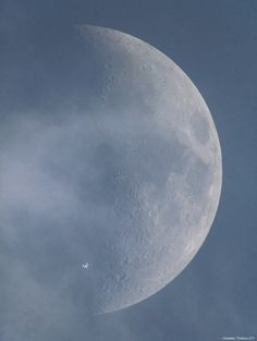The International Space Station crosses paths with the Moon