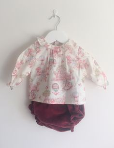 9aefa5ad182b3 A beautiful girls shirt with all over vintage childrens toile print by  Spanish childrens clothing brand Casa Amarela. Available at The Little Ark  Boutique