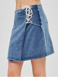 8177fe7151 ZAFUL Lace Up Flared Denim Skirt - DENIM BLUE XL Line Patterns, Blue Denim,