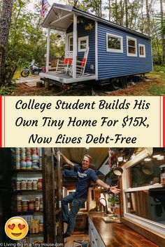 #College #Student #Builds #Own #Tiny #Home #Debt #Free Debt Free Living, Blue Acrylic Nails, Colorful Eye Makeup, Bathroom Renovations, Beauty Make Up, Hair Highlights, Chic Wedding, College Students, Aesthetic Wallpapers