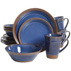 Gibson Brynn Cobalt 16-Piece Dinnerware Set ($70) ❤ liked on Polyvore featuring home, kitchen & dining, dinnerware, open blue, rustic stoneware dinnerware, gibson dinnerware sets, blue stoneware dinnerware, cobalt blue dinnerware and blue dinnerware