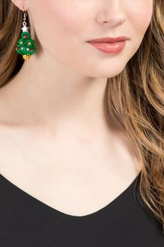Holiday Tree Drop Earrings | Holiday Party Earrings