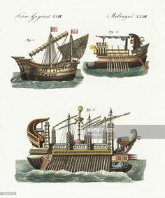 Phoenician merchant ship 1, ancient warship 2, and the floating castle of King Hiero of Syracuse, Sicily, designed by Archimedes 3. Handcoloured copperplate engraving from Bertuch's Bilderbuch fur Kinder (Picture Book for Children) Weimar 1798. Friedrich Johann Bertuch (1747-1822) was a German publisher and man of arts most famous for his 12-volume encyclopedia for children illustrated with 1200 engraved plates on natural history published from 1790-1830.