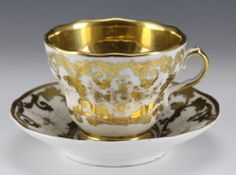 19th Century KPM Porcelain Large Cup and Saucer Lushly Decorated in Gold Gilt | eBay