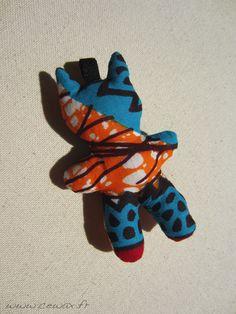 Porte-clés Chat Wax motif africain turquoise orange et rouge (envoi 0€)
