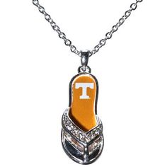 NCAA Tennessee Volunteers 18 Inch Silver Toned Necklace with Flip-flop Pendant with Tennessee Logo J and D Jewelry and More http://www.amazon.com/dp/B00J7A4LIQ/ref=cm_sw_r_pi_dp_Z8Adwb0RV1KD9