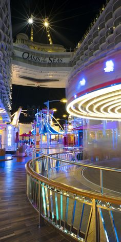 Oasis of the Seas | Mimicking a seaside pier, the Boardwalk features a full-sized Carousel that includes 18 animals attached to traditional Carousel poles.